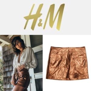 Metallic bronze skirt H&M